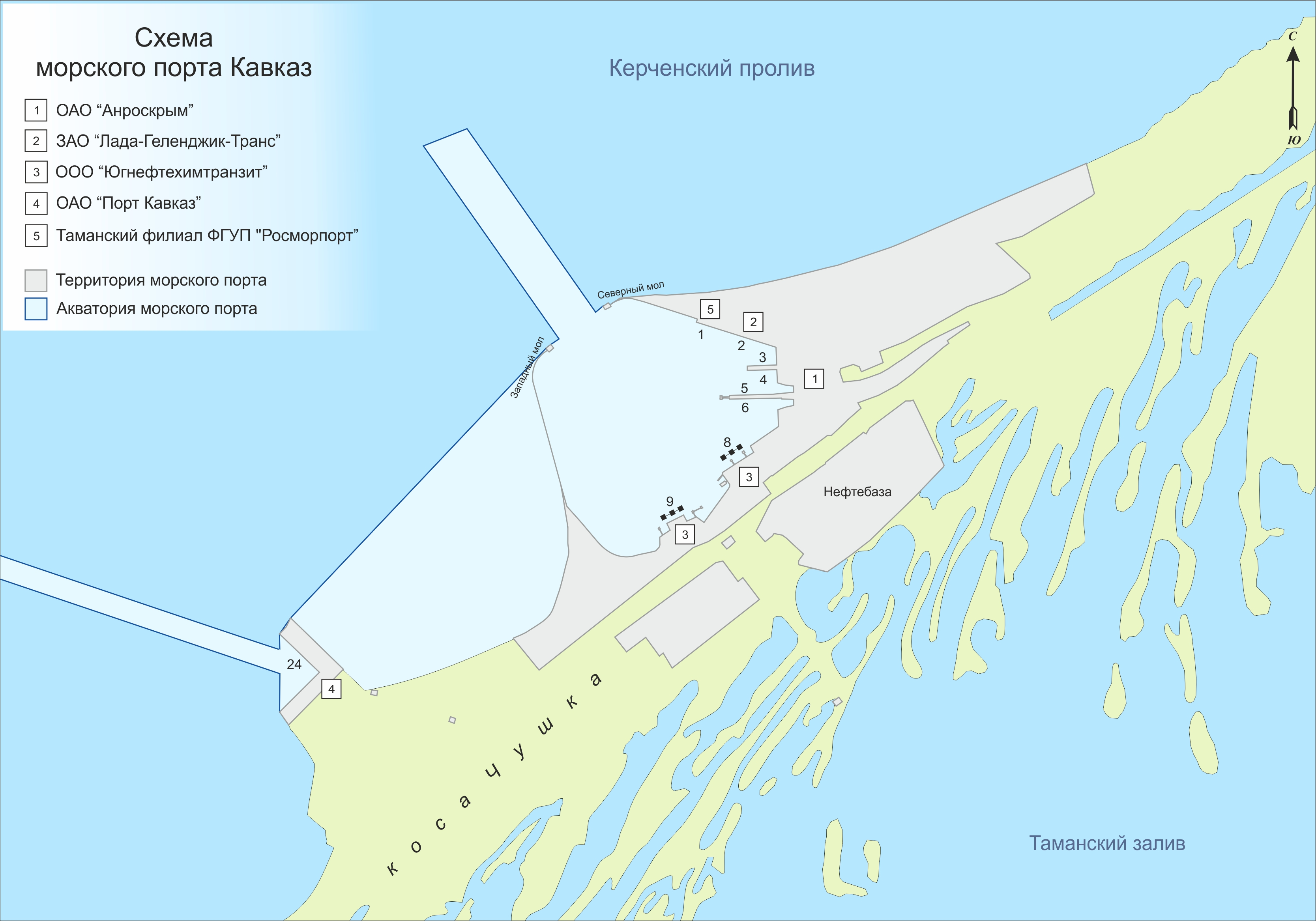 Схема проезда на паром порт кавказ